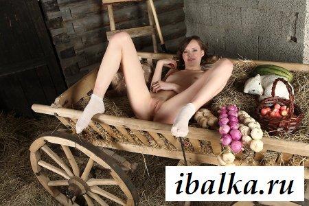 Деревенская баба раздетая на телеге