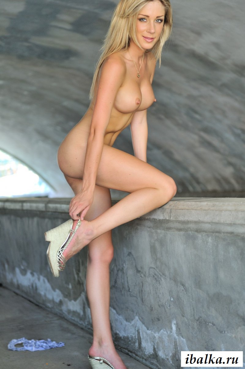 Красивая голая шведка с силиконовыми сиськами на парапете (20 фото эротики)